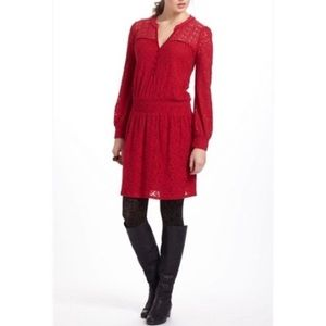 Anthropologie Leifnotes Field Day Red Dress Size S